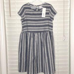 Peyton & Parker 55% Linen 45% Cotton Striped Dress